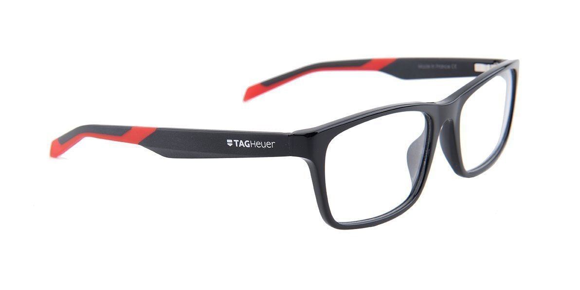 Tagheuer - TH0555 Black Rectangular Men Eyeglasses - 57mm-Eyeglasses-Designer Eyes