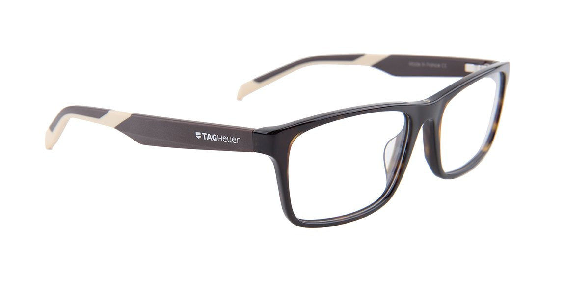 Tagheuer - TH0555 Tortoise Rectangular Men Eyeglasses - 57mm-Eyeglasses-Designer Eyes