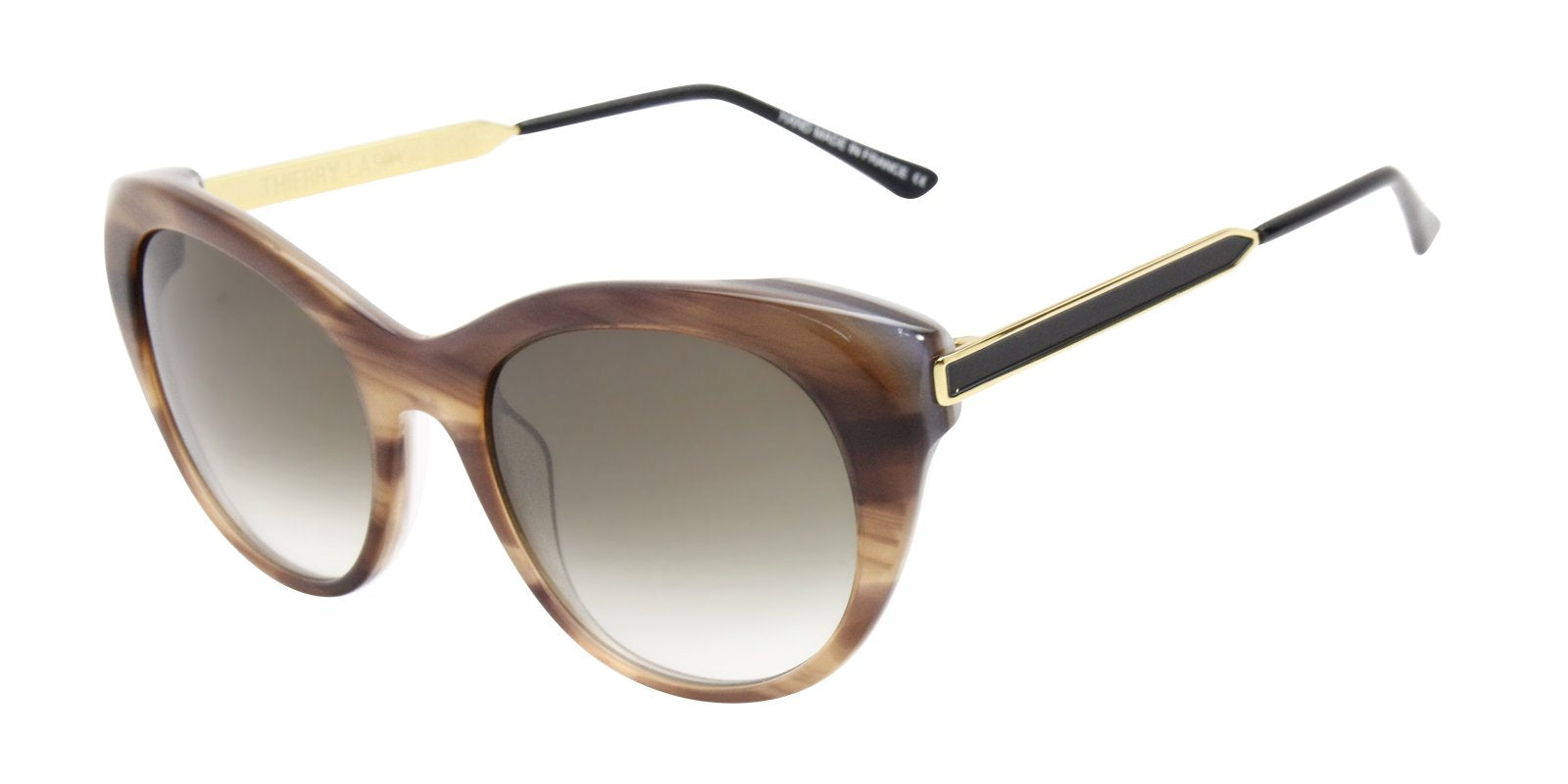 Thierry Lasry - Fingery Brown Oval Women Sunglasses - 56mm-Sunglasses-Designer Eyes