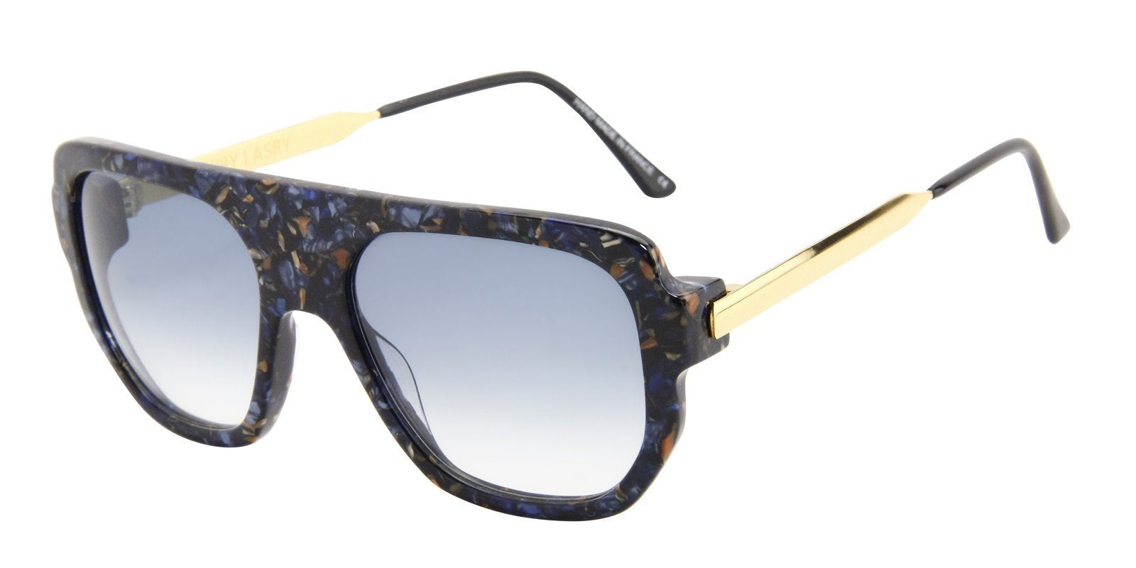 Thierry Lasry - Misoginy Black/Blue Rectangular Men, Women Sunglasses - 54mm-Sunglasses-Designer Eyes