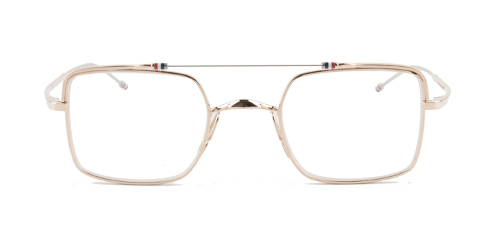 Thom Browne - TB909 Gold Rectangular Unisex Eyeglasses - 44mm-Eyeglasses-Designer Eyes