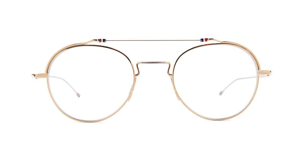 Thom Browne - TBX912 Gold Round Men Eyeglasses - 49mm-Eyeglasses-Designer Eyes