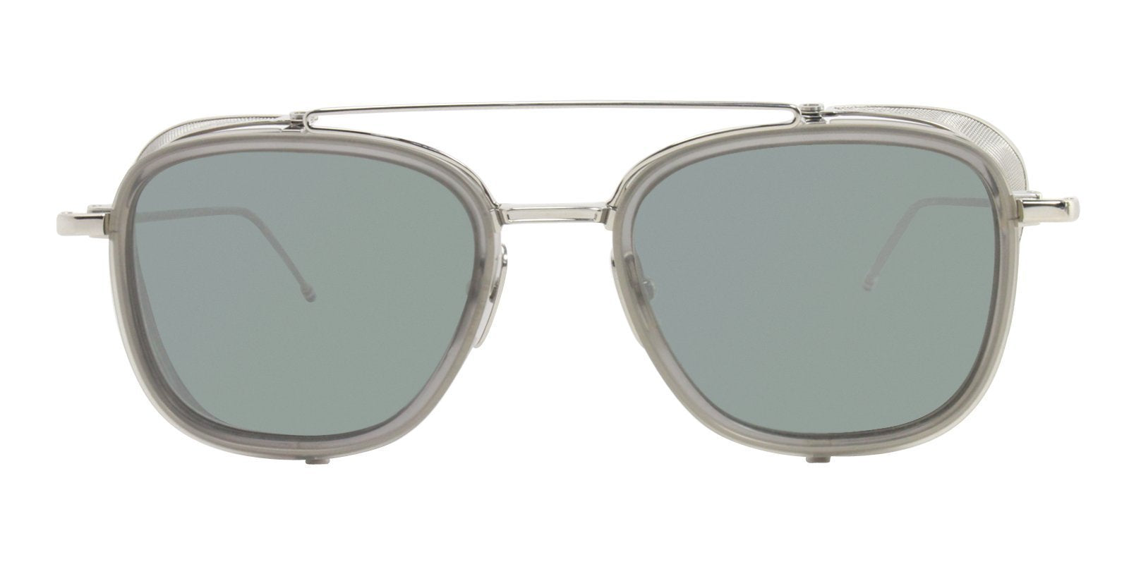 Thom Browne - TB-808 Gray Oval Men Sunglasses - 51mm-Sunglasses-Designer Eyes