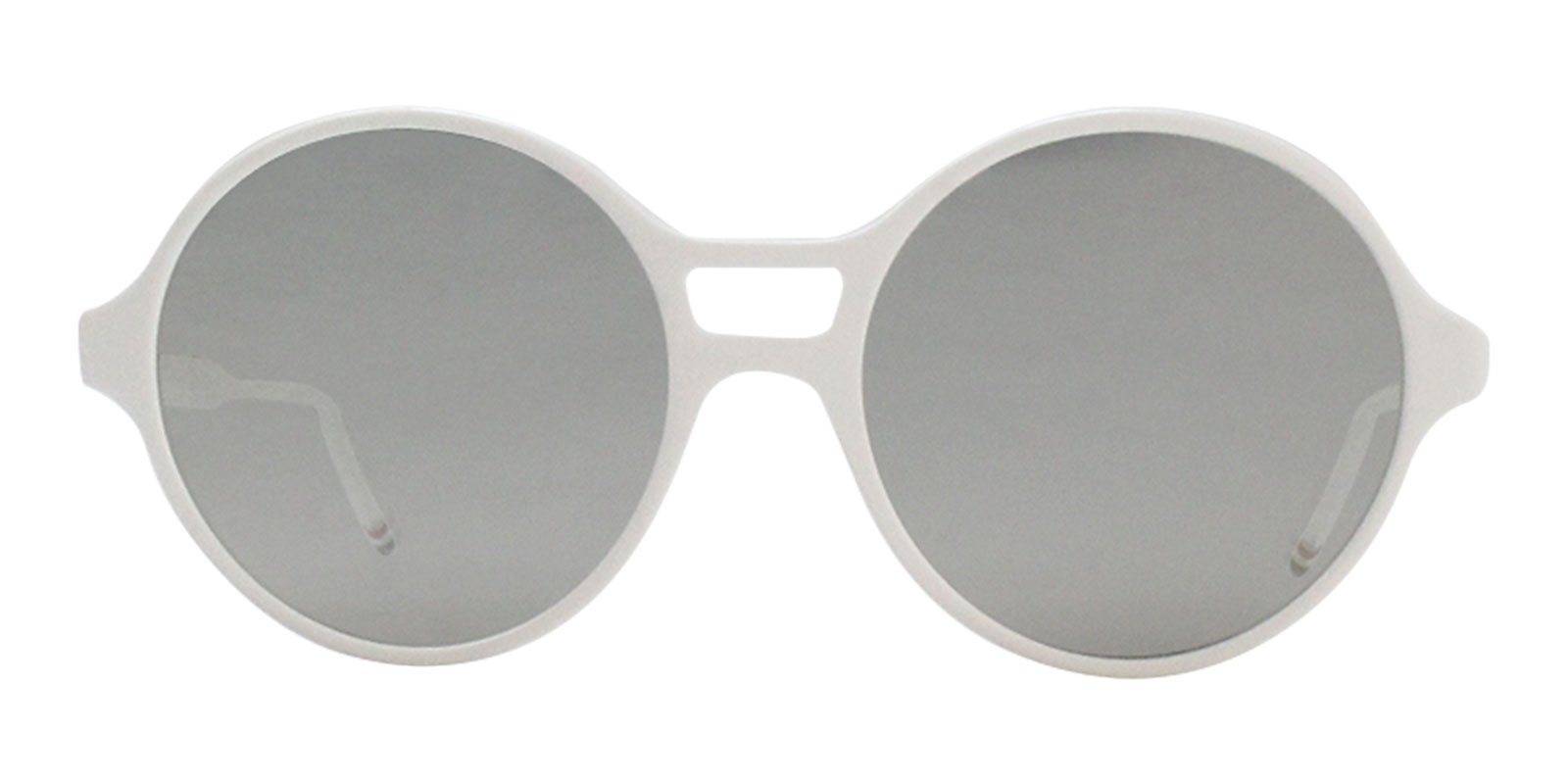 Thom Browne - TBS409 White Oval Unisex Sunglasses - 58mm-Sunglasses-Designer Eyes