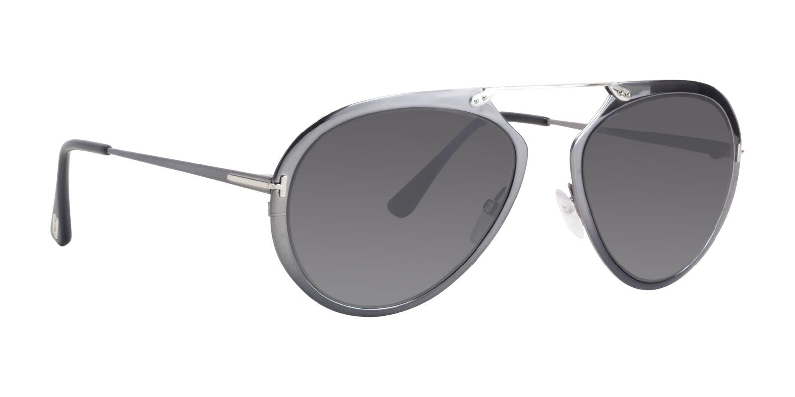 Tom Ford - FT0508 Gray Oval Unisex Sunglasses - 55mm-Sunglasses-Designer Eyes