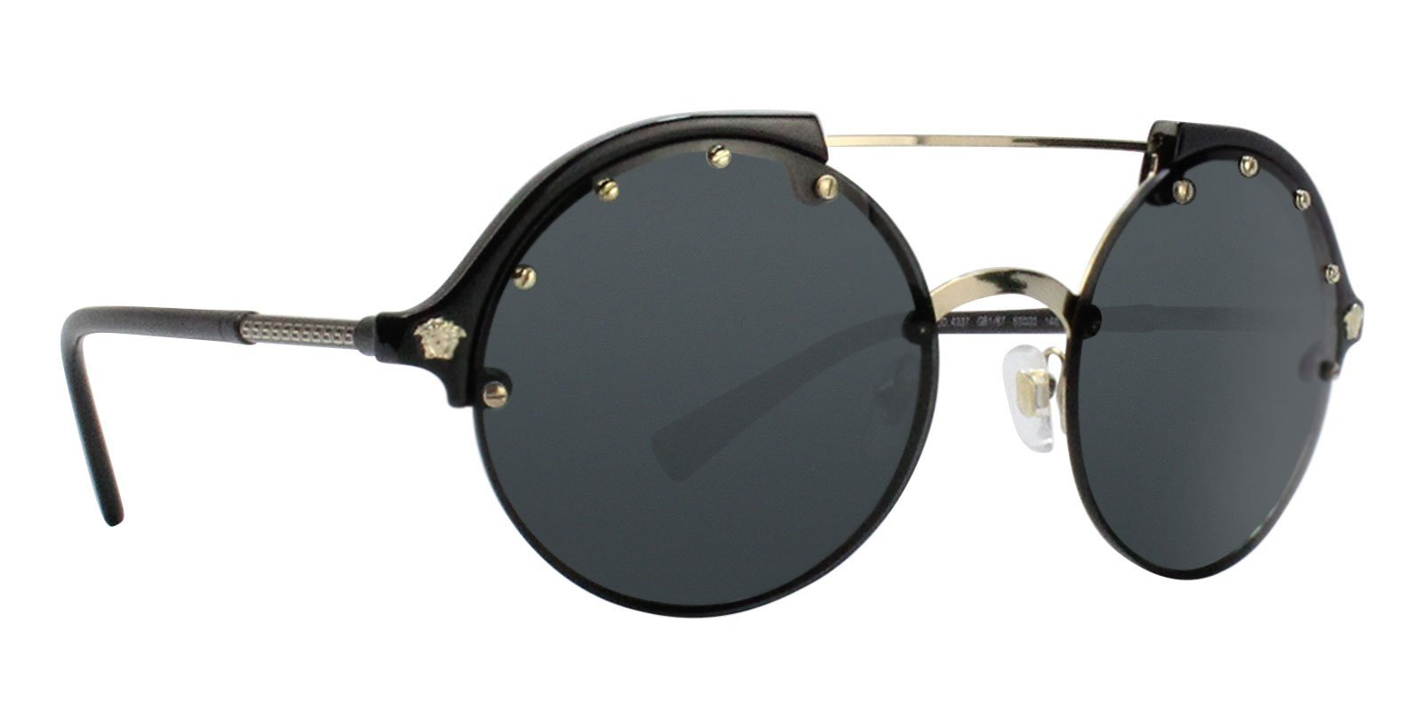 GB187 VE4337 Pale 53 Versace Black Round Sunglasses Authentic Gold T1nqaPxEE