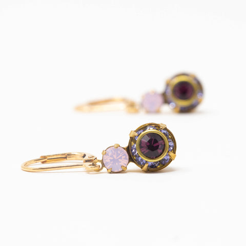 Burgundy Crystal Drop Earrings - Vintage Swarovski Crystals - Jacaranda