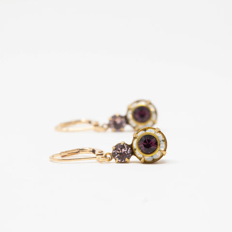 Purple Crystal Earrings - Vintage Swarovski Crystal Earrings - Jacaranda