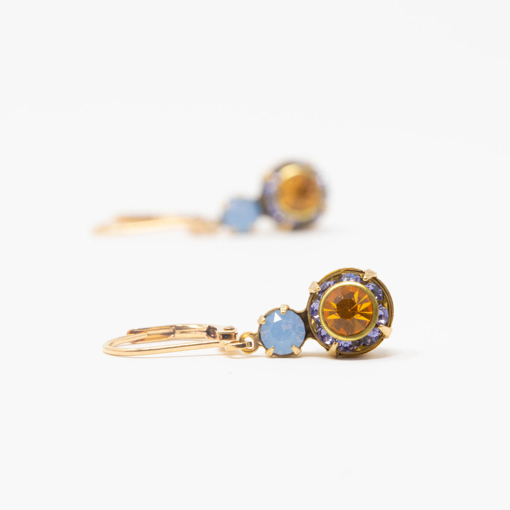 Blue and Amber Crystal Drop Earrings - Jacaranda