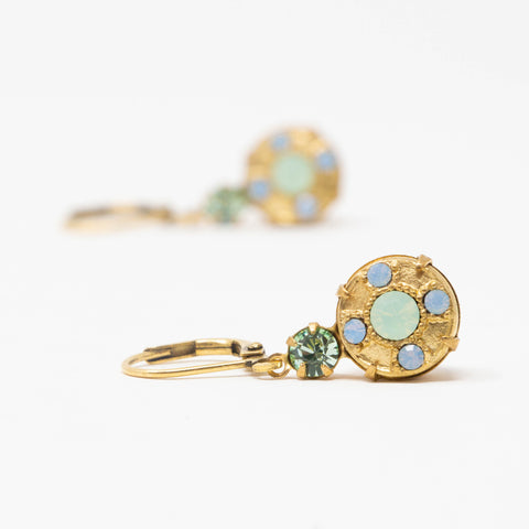 Vintage Crystal Dangle Earrings With Mint Green and Pale Blue Crystals - Brass Leverback Earrings - Jacaranda