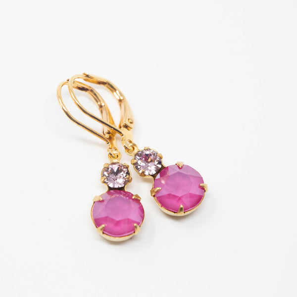 Magenta Pink Crystal Earrings - Jewel Earrings - Pink Rhinestone Earrings - Jacaranda