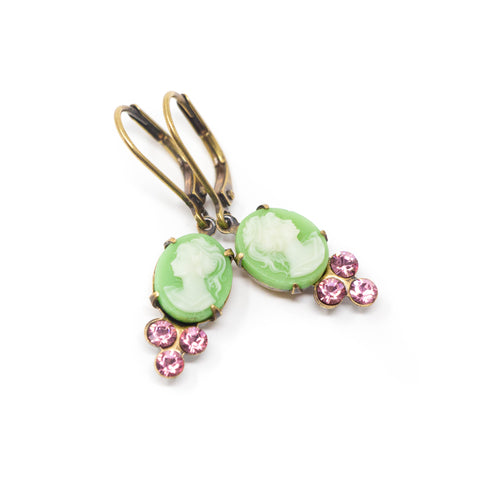 Green and White Cameo Earrings With Rose Pink Crystals - Jacaranda