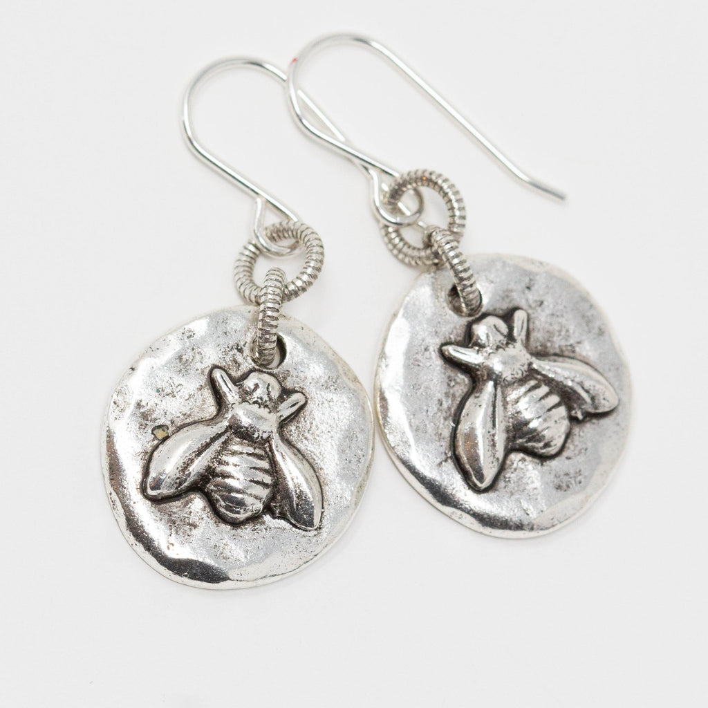 Silver Bee Earrings - Gift For Mothers Day From Daughter - Jacaranda