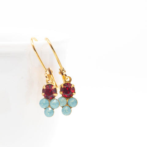 Tiny Aqua and Red Earrings - Sweet Crystal Earrings - Delicate Jewelry - Jacaranda