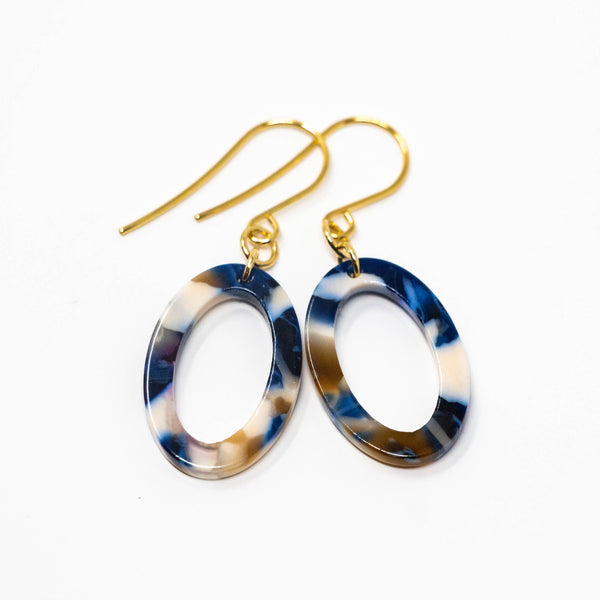 Modern Oval Earrings - Blue and Brown Earrings - Jacaranda