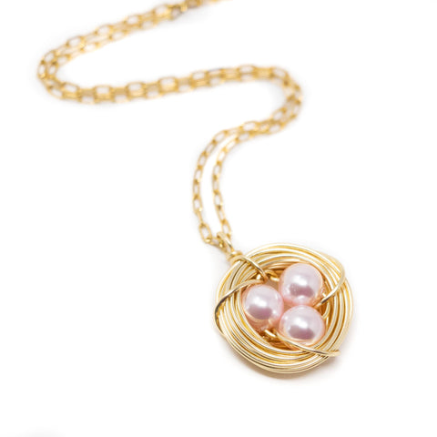 Gold Bird Nest Necklace With Pink Eggs - Jacaranda