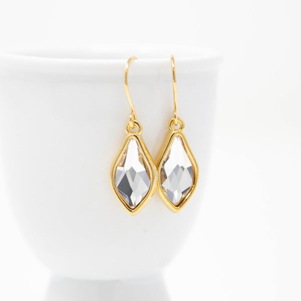 Simple Clear Crystal Earrings - Leaf Shaped Dangle Earrings - Minimalist Wedding Jewelry - Jacaranda