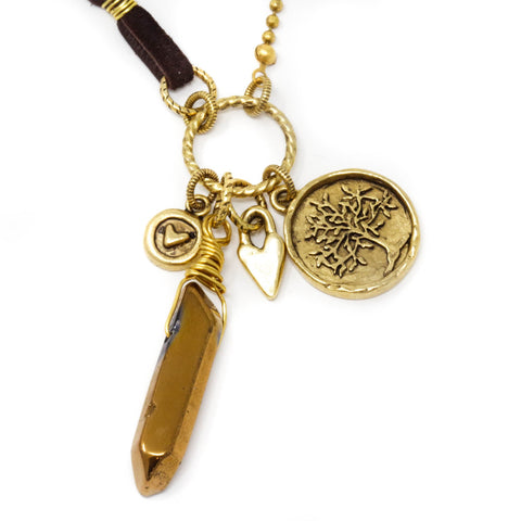 Long Boho Necklace With Crystal Quartz and Brass Charms - Suede Cord and Brass Chain - Jacaranda