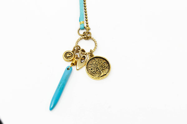 Long Boho Necklace With Howlite Stone Pendant and Brass Charms - Leather Cord and Brass Chain - Jacaranda