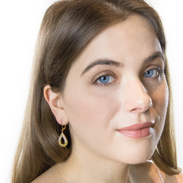 Gold Art Deco Earrings - Crystal Teardrop Earrings With Olive Green, Blue and Lilac Crystals - Jacaranda