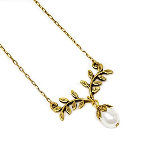 Golden Fern Simulated Pearl Necklace - Jacaranda