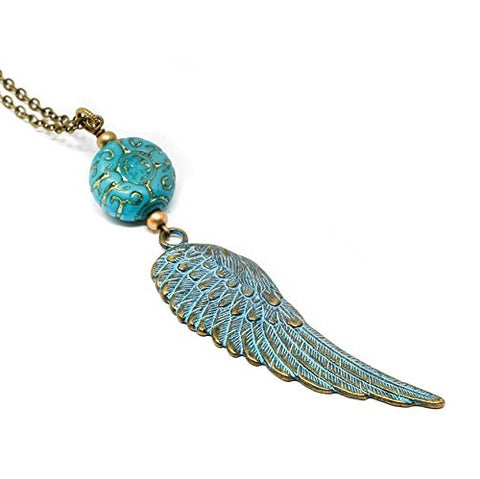 Large Patina Angel Wing Pendant Necklace - Jacaranda