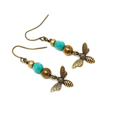 Aqua and Bronze Bee Dangle Earrings - Jacaranda