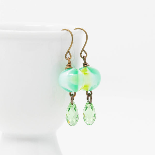 Green Beaded Dangle Earrings, Green Swirl Earrings, Swarovski Green Teardrop Bead