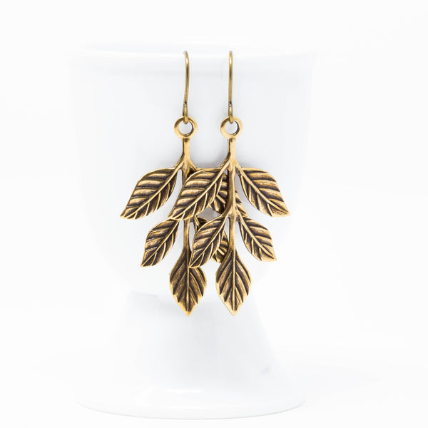 Branch Earrings, Woodland Jewelry, Rustic Dangle Earrings, Golden Leaf Earrings