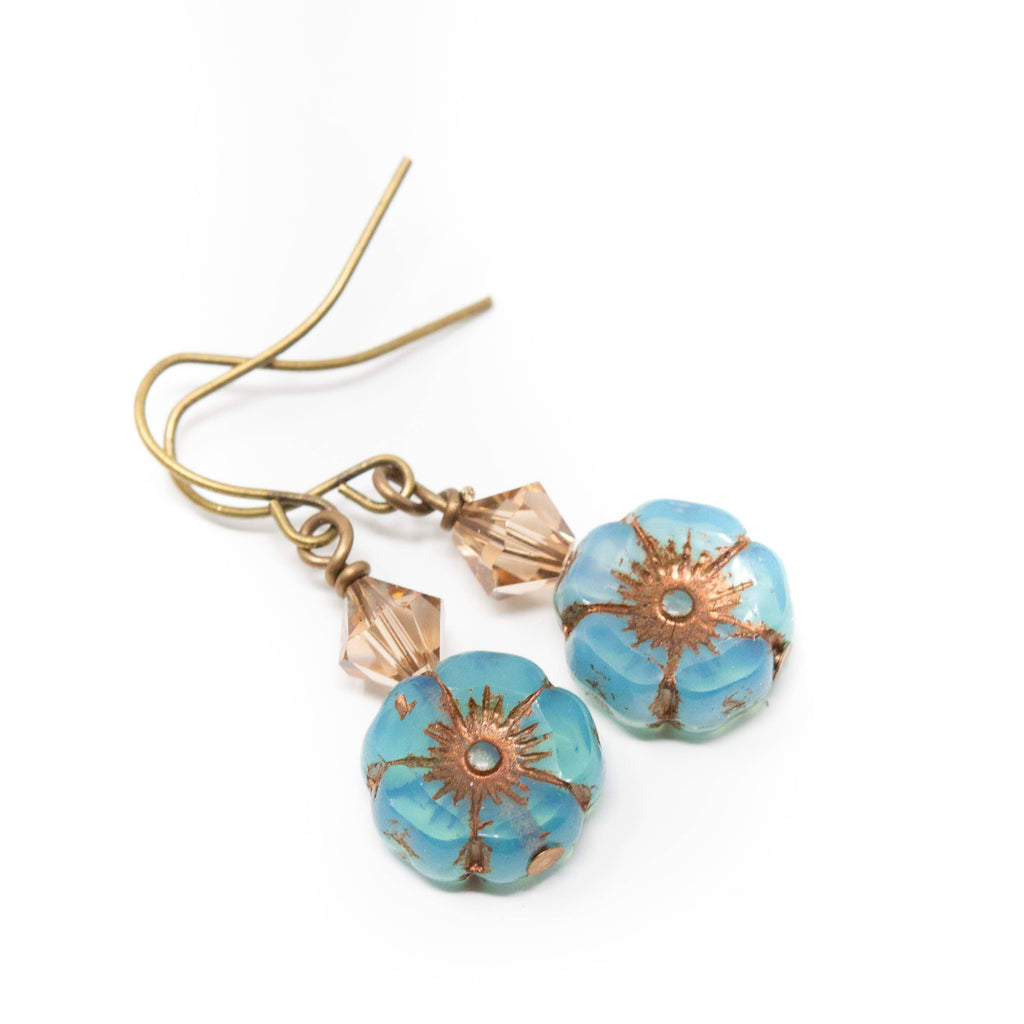 Turquoise Flower Earrings, Boho Earrings, Rustic Floral Earrings, Turquoise Beaded Earrings