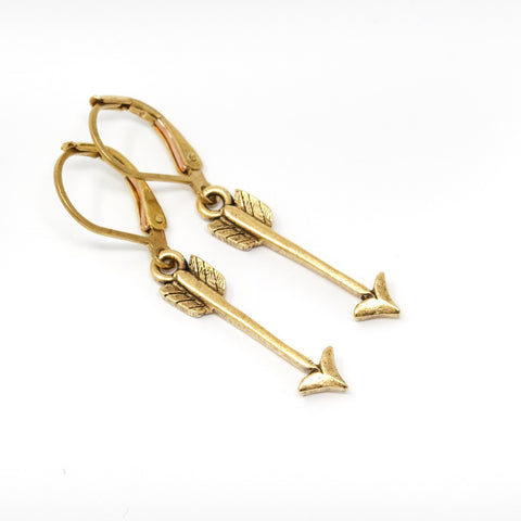 Simple Etched Brass Arrow Earrings - Jacaranda
