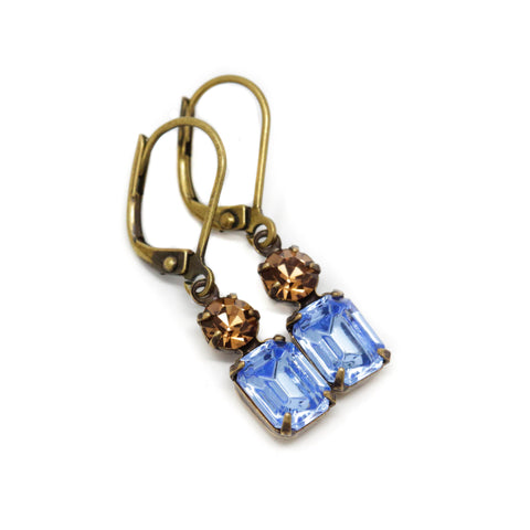 Small Blue and Brown Vintage Jewel Earrings With Leverbacks - Jacaranda