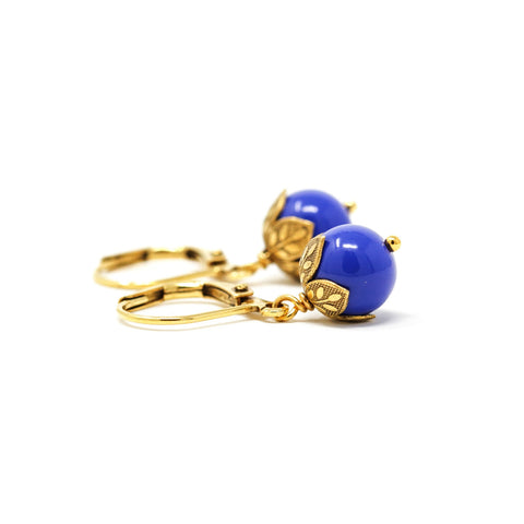 Small Dainty Monaco Blue and Gold Drop Earrings - Jacaranda