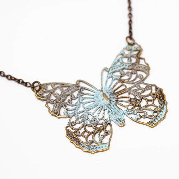 Large Patina Green Brass Butterfly Filigree Pendant Necklace - Jacaranda