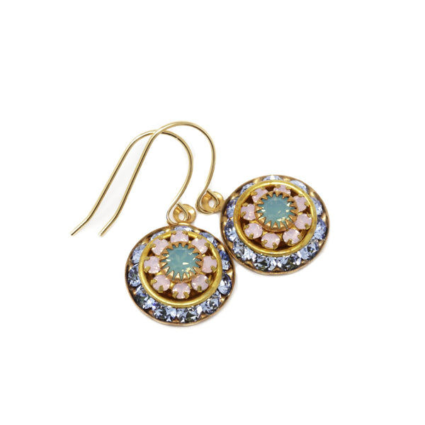 Vintage Swarovski Round Crystal Dangle Earrings - Pale Blue, Pink and Mint Green - Jacaranda