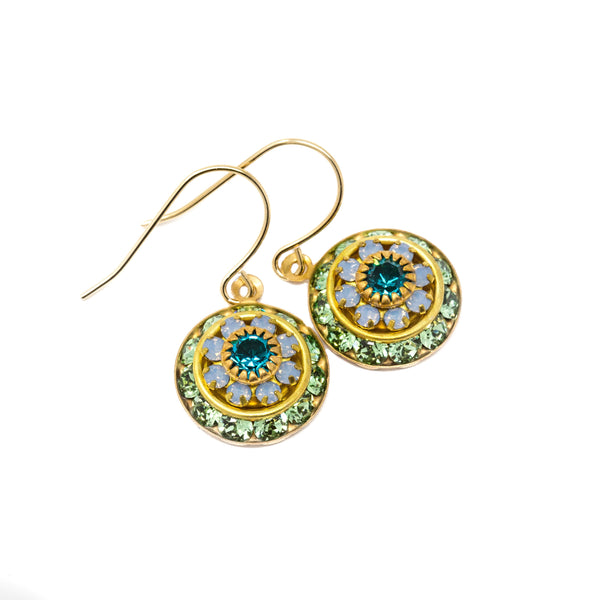 Vintage Swarovski Round Crystal Dangle Earrings - Green, Opal and Teal Blue - Jacaranda