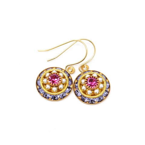 Vintage Swarovski Round Crystal Dangle Earrings - Purple, Pearl and Magenta Pink - Jacaranda