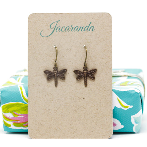 Antiqued Brass Dragonfly Dangle Earrings - Jacaranda