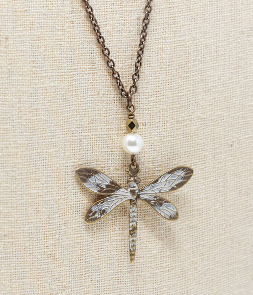 Brass Dragonfly Necklace on Brass Chain with Simulated Pearl Bead - Jacaranda
