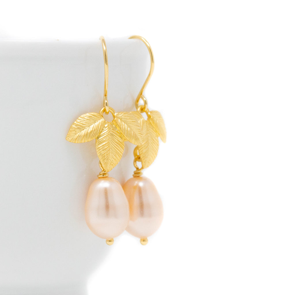 Peach Pearl Earrings With Golden Leaves