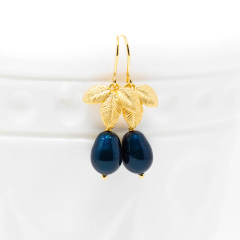 Midnight Blue Earrings With Gold Leaves