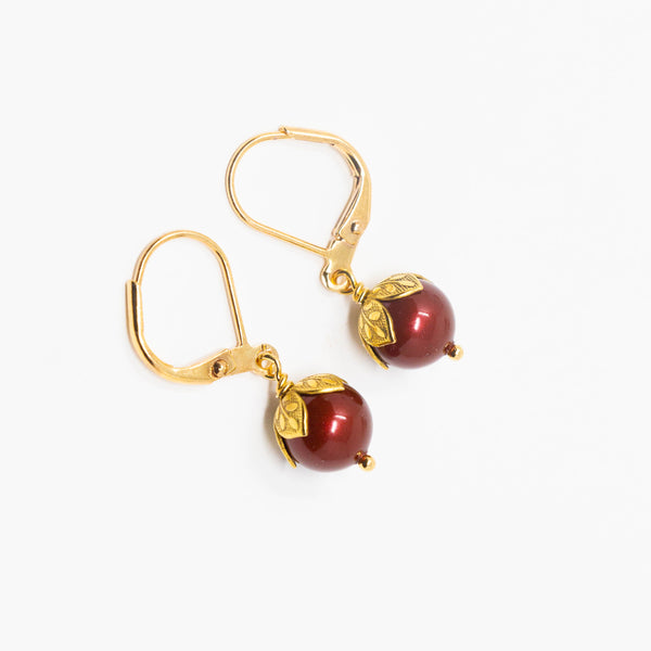 Small Burgundy Pearl Earrings