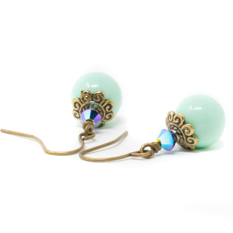 Mint Green Beaded drop Earrings