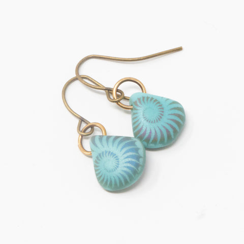 Matte Turquoise Teardrop Spiral Earrings