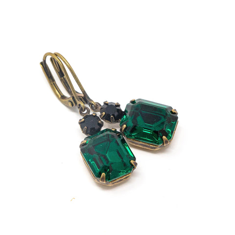 Emerald Green Drop Earrings - Rhinestone Earrings - Leverback Earrings - Jacaranda