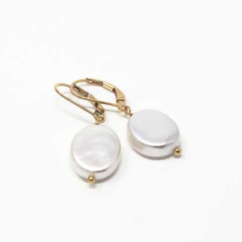 Ivory Freshwater Pearl Earrings with Gold FIlled Leverback Earrings - Simple Minimalist Style