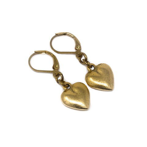 Puffy Gold Brass Heart Charm Earrings - Jacaranda