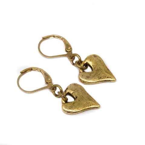 Hammered Gold Brass Heart Charm Earrings - Jacaranda