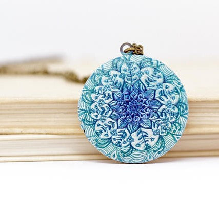 Mandala Locket Necklace - Jacaranda