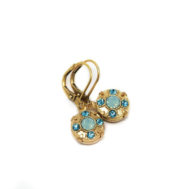 Vintage Teal Crystal Dangle Earrings Set in Gold Brass With Mint Green Crystal Center